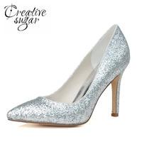 Creativesugar 뾰족한 발가락 금속 3D 반짝이 골드 실버 높은 뒤꿈치 여성 펌프 중립 웨딩 파티 동창회 스파클 신발