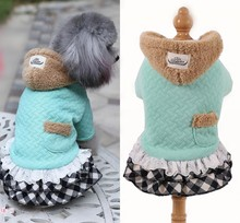 Winter Clothes for Small Dogs Warm Fleece Ruffle Plaid Dog Hoodie Coat Chihuahua Yorkshire XS S M L XL 2XL