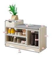 Современные Твердые Деревянный шкафчик для обуви жизни полки для обуви коробка для хранения содержит стул самостоятельные искусственная к