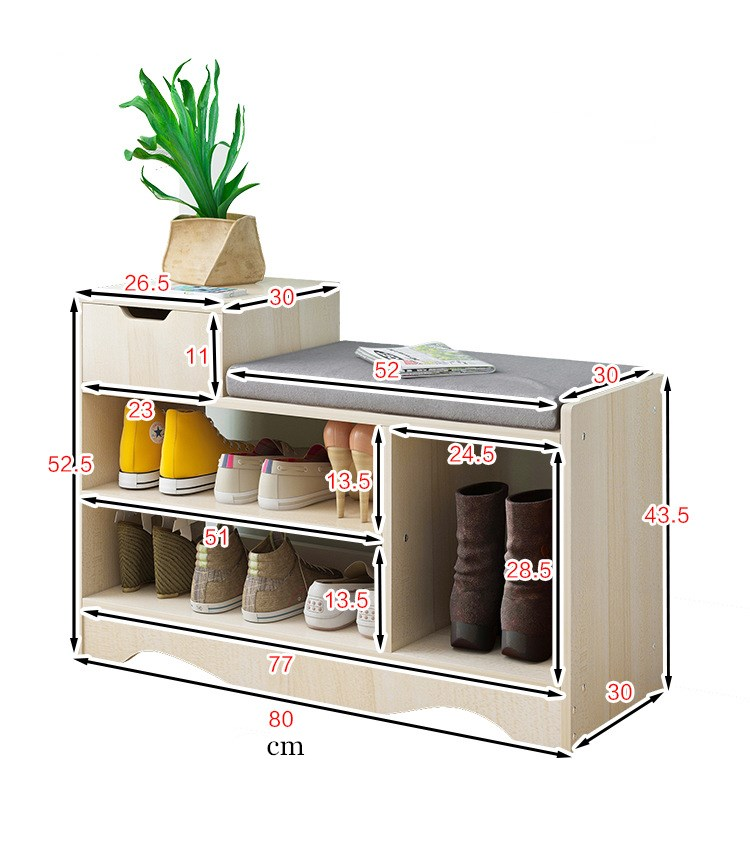 Modern Solid Wood Shoe Cabinet living shoe shelves Storage Box Containing Chair self standing PU leather cushion
