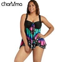 CHARMMA New Swimwear Women Plus Size High Waist Swimsuit Butterfly Print Blouson Tankini 2017 Bathing Suit