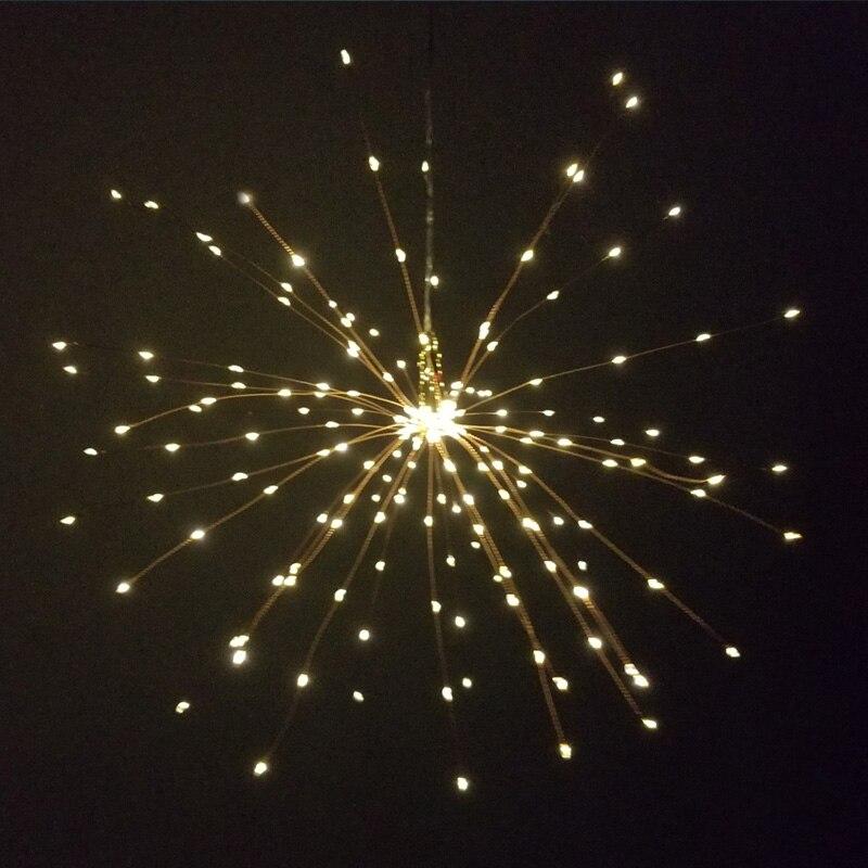 Праздничный подвесной светильник со звездами s 100-200 светодиодов DIY фейерверк медная гирлянда Рождественский светильник s уличный мерцающий светильник - Испускаемый цвет: Тёплый белый