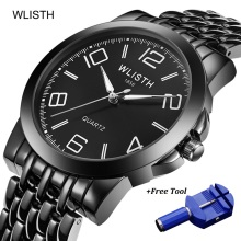 WLISTH Big Number Watch Men Luxury Full Black Quartz Analog Waterproof Mens Watches Business Stainless Steel Wrist