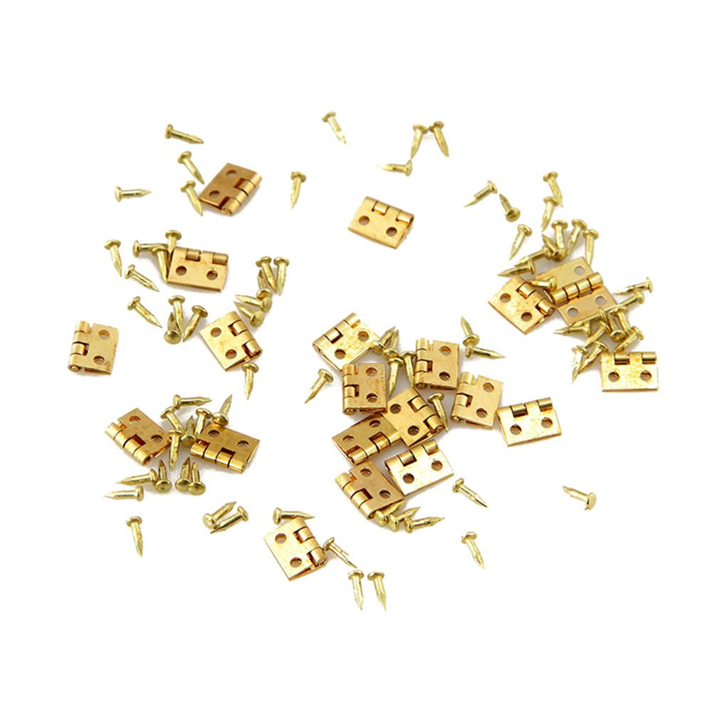Metal Hinge Furniture Closet Cabinet Dollhouse Mini 1/12-House Golden 20pcs For Brass