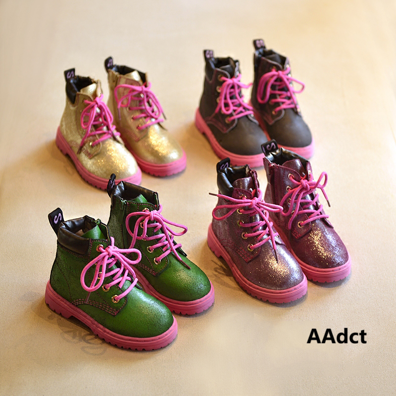 все цены на AAdct 2017 Fashion girls boots Brand children shoes High quality soft sole autumn spring new rubber kids boots for girls онлайн