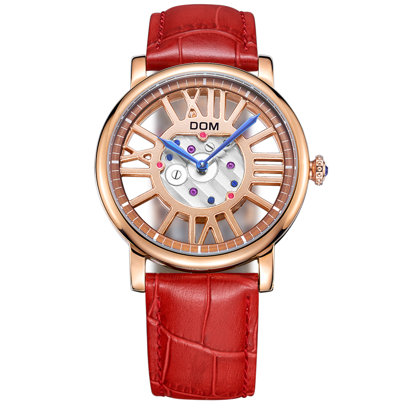 ФОТО DOM Women Authentic Luxury Waterproof Hollow Watch Leather Belt Casual Sports Quartz Watch G-1031