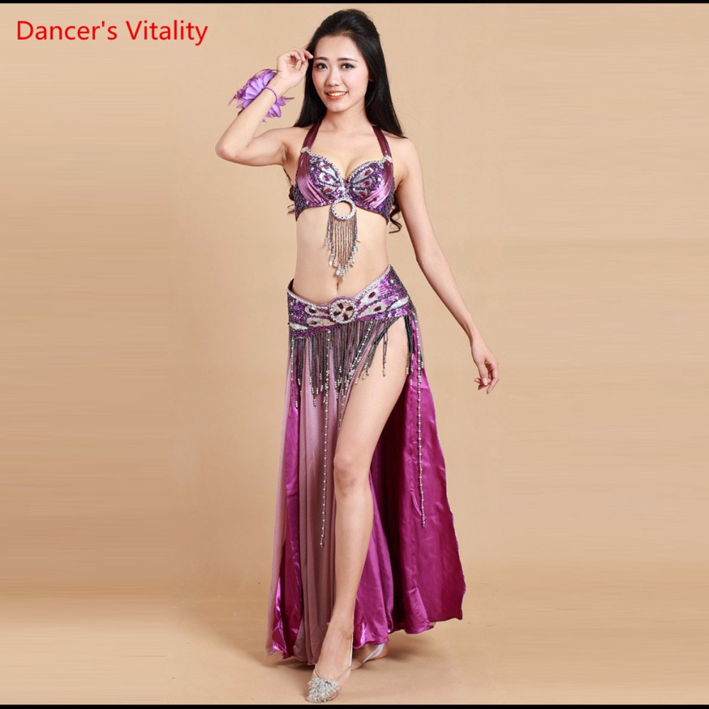 Belly Dance Clothes Stage Performance Oriental 3-piece Luxury Dress Beaded Indian Dancer Dress White Purple Free Shipping