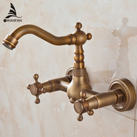 Free Shipping 2 Handle Wall Mounted Antique Brass Kitchen Faucet Vanity Faucet Swivel Mixer Tap Crane