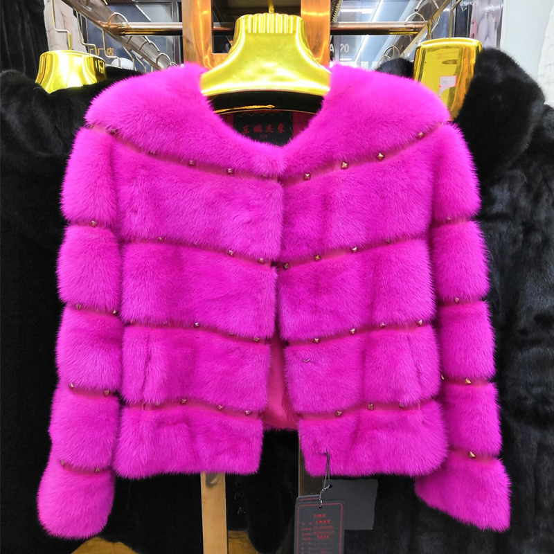 Whole Mink  Real Fur O-neck  Young Women Coat  Autumn Winter Short  Popular Slim  Hot Sale Real Mink Fur Jacket