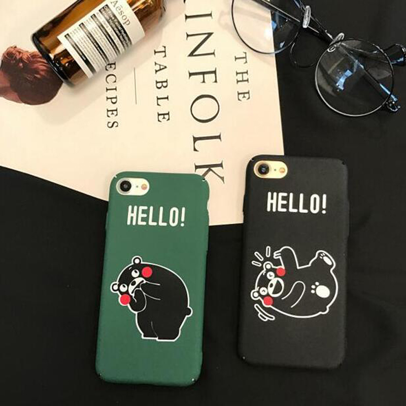 Cover For iphone 7 Cute Bear Hello Character Printed PC Hard Case For iphone 6 S 6S 6Plus 7 7Plus 8Plus 8 Plus Phone Case