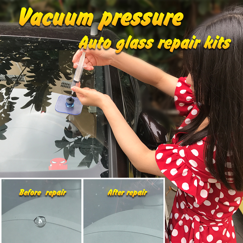 Vacuum Windshield Repair Kit Car Window Polishing Windscreen Glass Restore Tools for Auto Scratch Crack Hail Pits Dent Remove car glass maintenance sets auto window repair tool for chip crack windshield repairing kit automobiles care diy