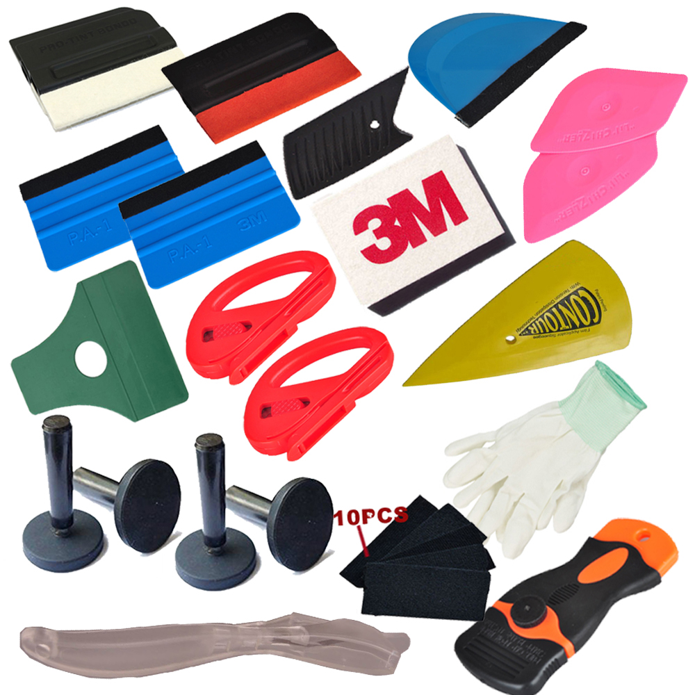 32pcs Vinyl Car Foil Wrap Tool Set Window Tint Tools 3M Squeegee Carbon Fiber Stickers Knife Magnet Holder Car Accessories