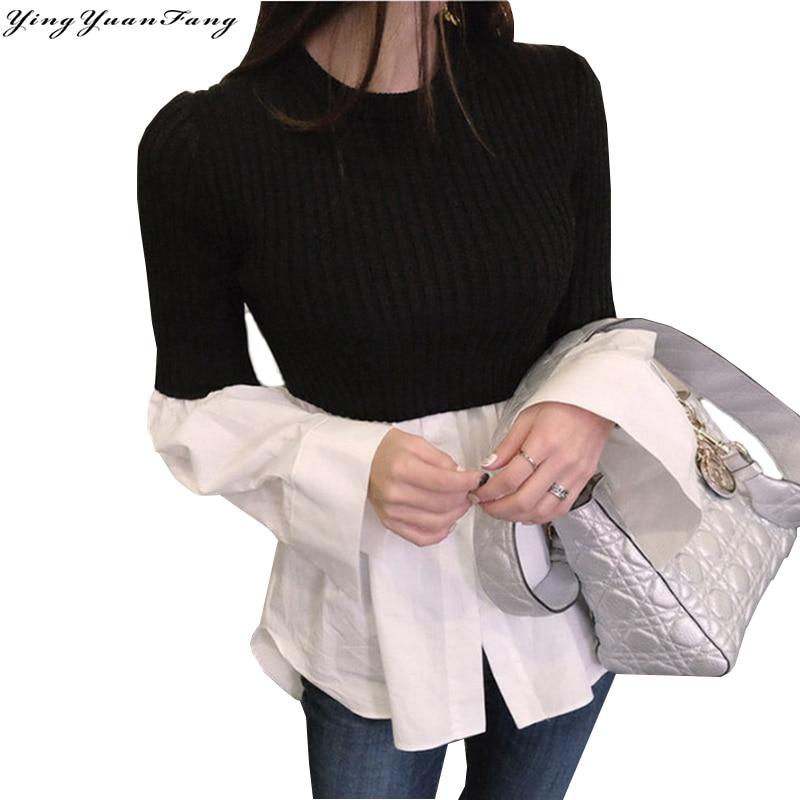 YingYuanFang New fashion Slim cotton Knitted fabrics spliced fake two-piece long sleeve  women's shirt