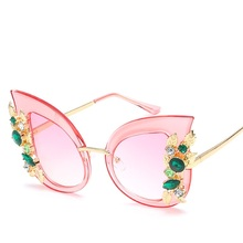 fashion brand design diamond cat eye sunglasses personality frame new fashion trend big eyeglasses female polarized sunglasses