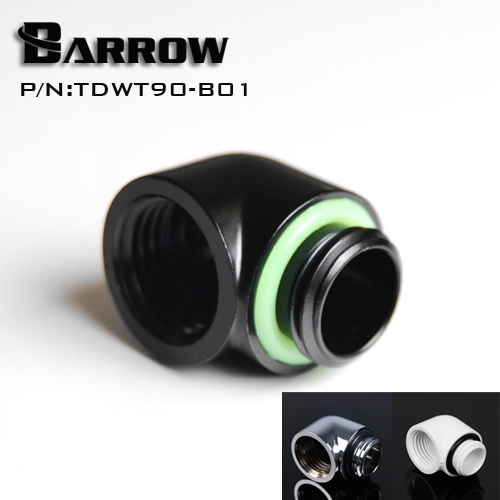 Barrow Brass Black White Silver G1/4'' thread 90 degree Fitting Adapter water cooling Adaptors water cooling fitting TDWT90-B01 barrow g1 4 female to female extender 15mm pc water cooling system water cooling fitting tbzt a15