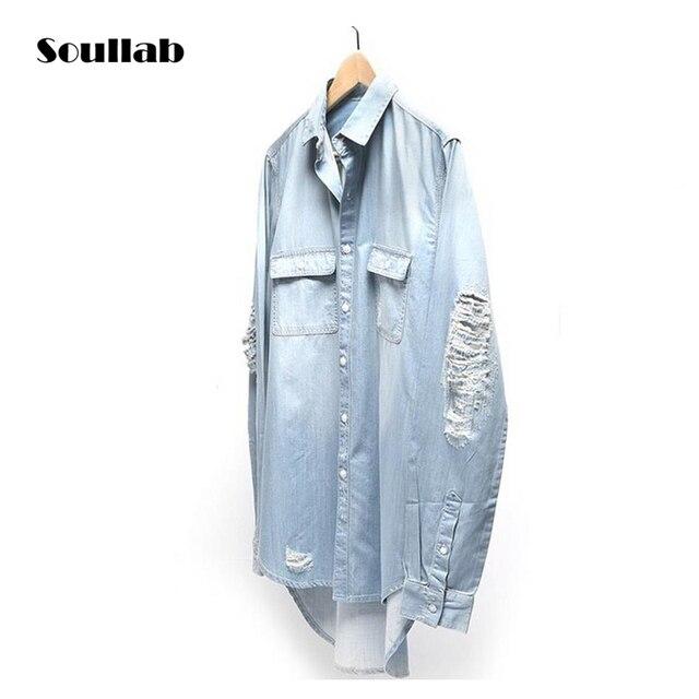 Nuevo Hombre distressed Denim Camisas mens hip hop azul vaquero manga larga  Camiseta hiphop streetwear Swag. Sitúa el cursor encima para ... 1346f0d0218