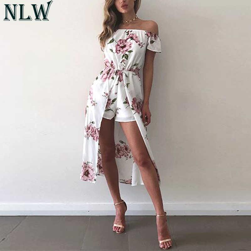 NLW mono de flores blancas con hombros descubiertos de verano mono de 2019 para mujer Vestidos de calle de alta división