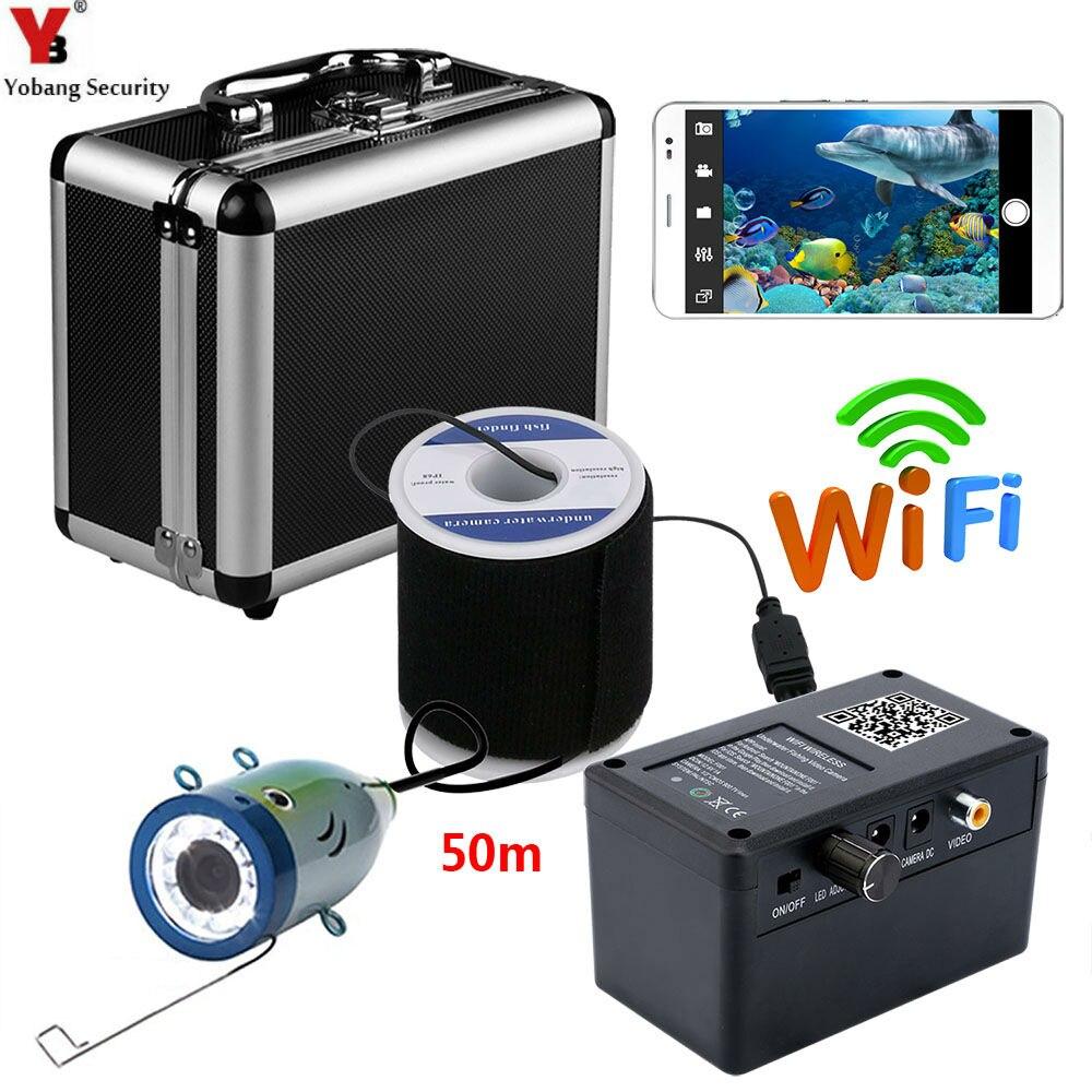 Yobang Security 50M 2.4G Wifi APP Underwater Surveillance Camera white LED Fishing Detector Camera Video FishFinder Camera