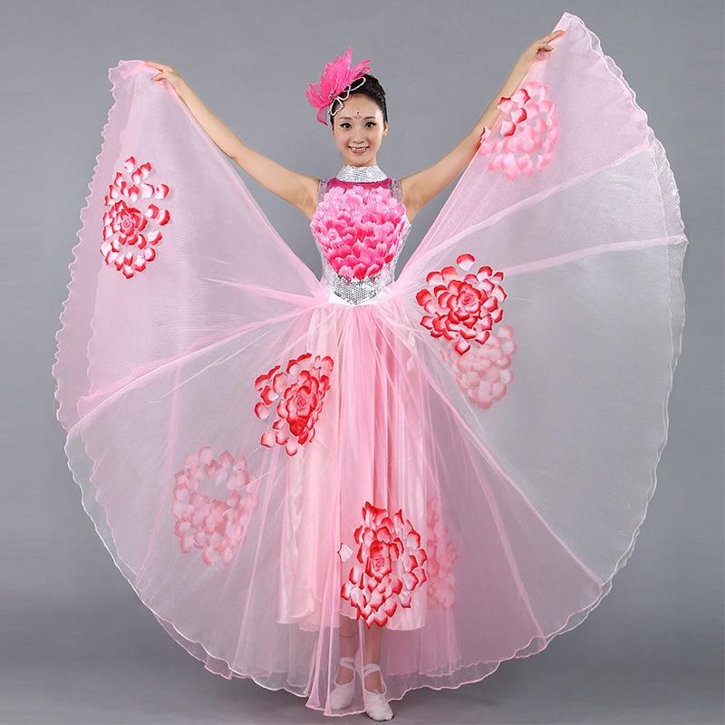 3f2b58178a24 Festival Prom Flamenco Costumes Female Paso Doble Wear Choral Dance Clothes  Folk Dance Sequined Slim Dress
