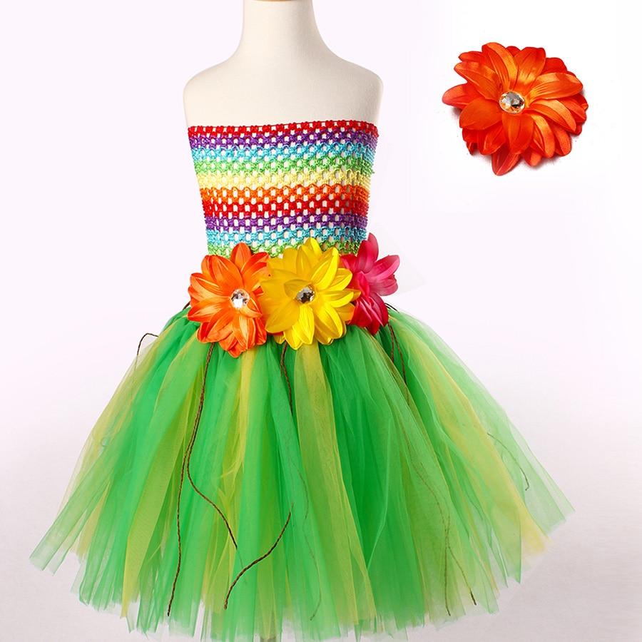 Girls Lily Hawaiian Grass Tutu Dress With Flower Headband Summer