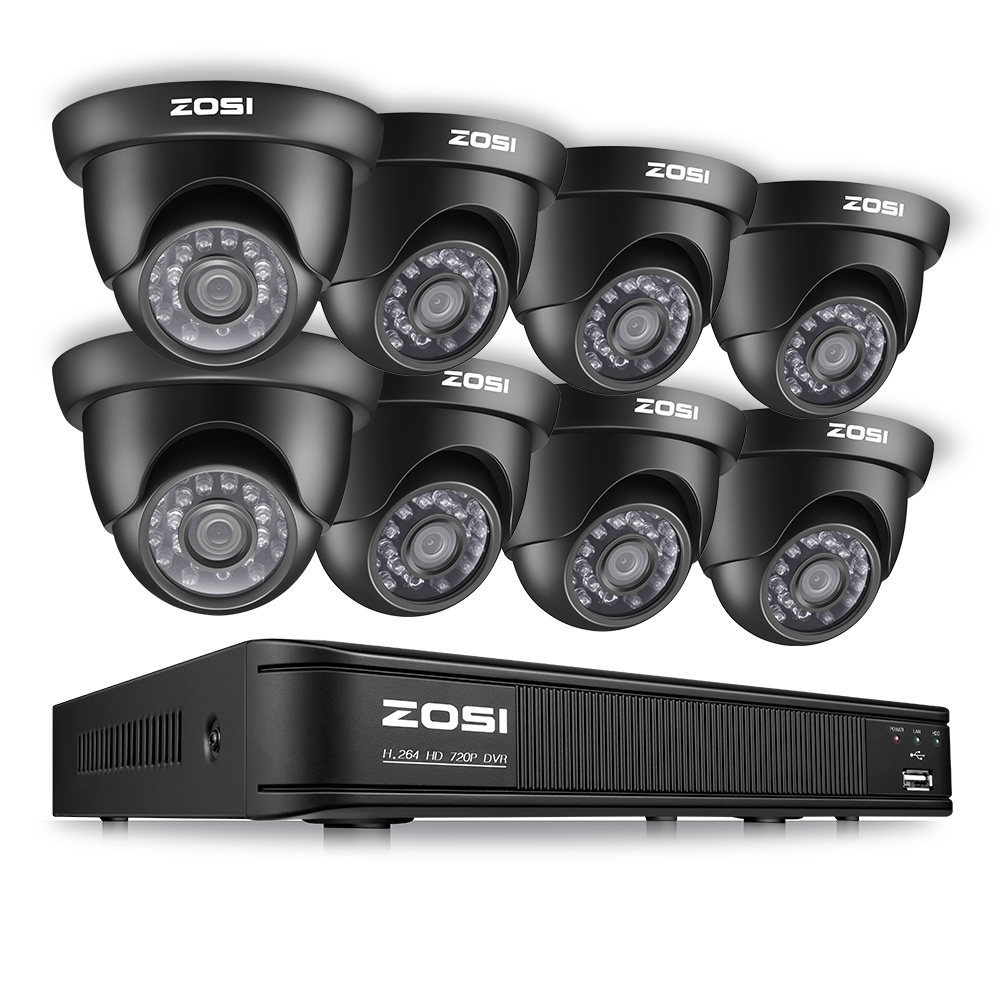 ZOSI 8CH CCTV System Set 1080N TVI DVR 8PCS 1280TVL IR Outdoor Security Camera System 8
