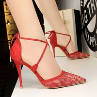 2018 Women Summer Gladiator 10cm High Heels Lace Heels Sandals Purple Wedding Pumps Female Footwear Pointed Toe Prom Red Sandals
