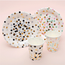 10pcs Black Dot Gold Stars Disposable Tableware Party Paper Plates Baby Shower Birthday Party Supplies Paper  sc 1 st  AliExpress.com & Buy paper plates and get free shipping on AliExpress.com