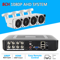 8CH 1080P AHD DVR System with 4CH 2MP AHD Camera 5in1 Hybrid 8CH DVR CCTV System with 20m Cable x 2 and 15m cable x2