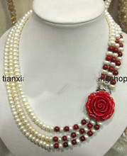 LL<<< 0681 7-8mm White Freshwater Pearl Red Coral Necklace 3row flower Clasp(China)