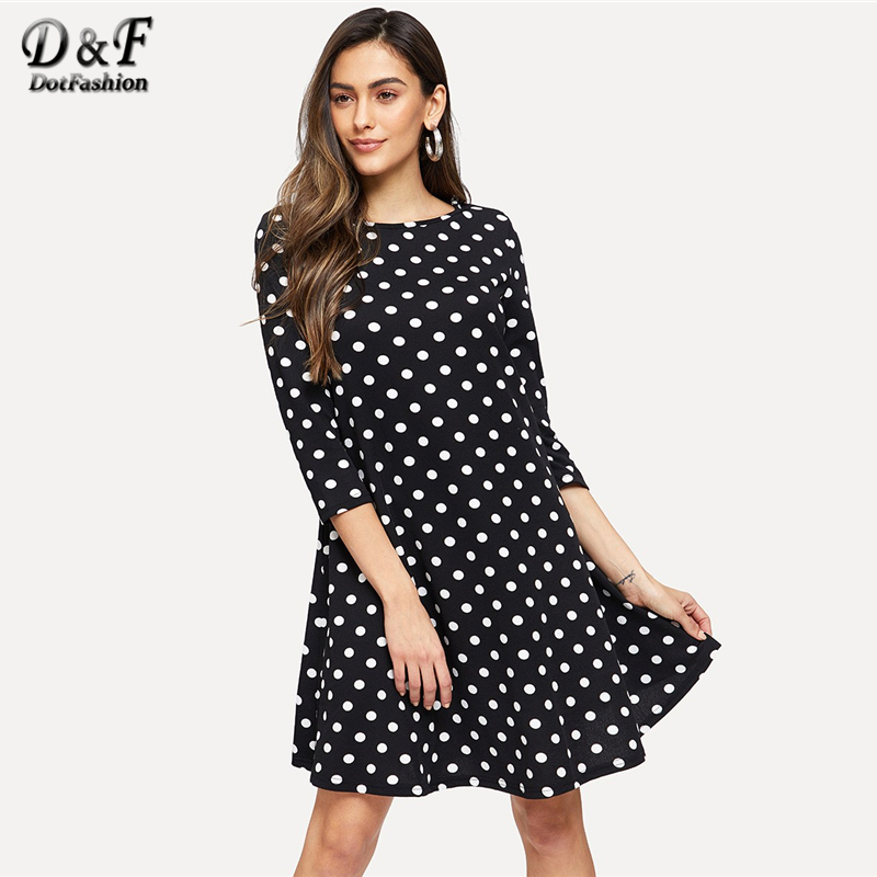 Dotfashion Black And White 3/4 Sleeve Polka Dot Flowy Dress Women Clothes New Arrival 2019 Casual Spring Autumn Short Dress polka dot
