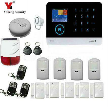 YoBang Security Wireless WiFi GSM GPRS Home Safety Security Alarm System Wireless Solar Alarm Smoke Detector Door Sensor Alarm.