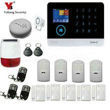 YoBang Security Wireless WiFi GSM GPRS Home Safety Security Alarm System Wireless Solar Alarm Smoke Detector Door Sensor Alarm.