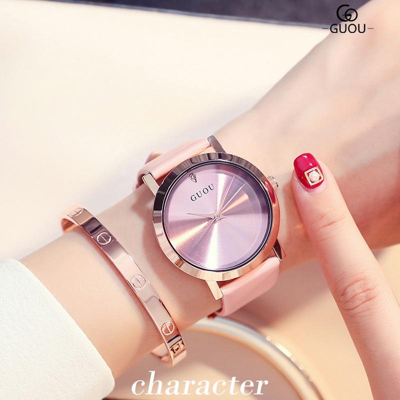 2018 lujo GUOU marca ultra delgado durable moda mujeres del cuero genuino relojes de cuarzo Simple relojes de regalo