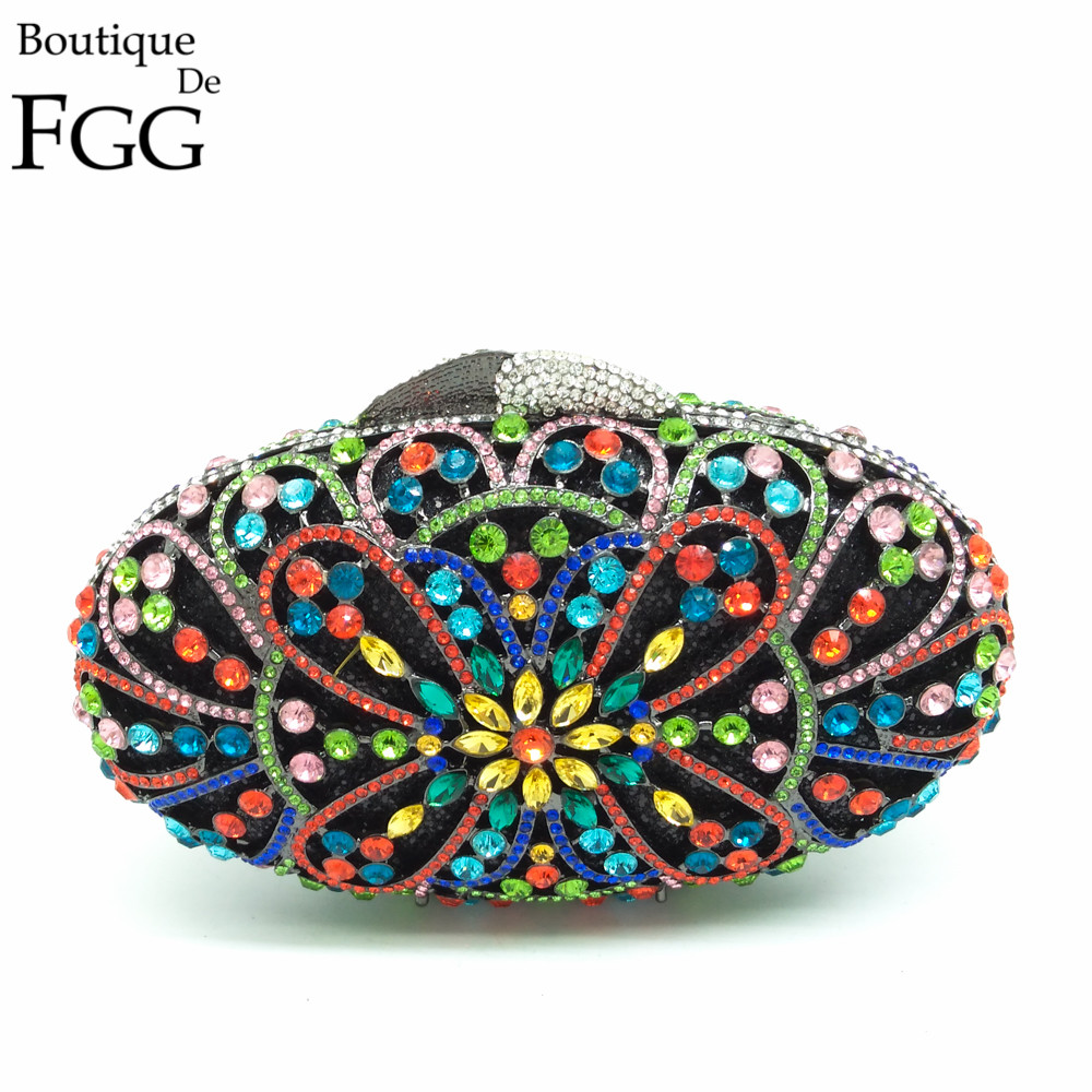 купить Gift Box Women Egg Shape Hollow Out Multi Crystals Evening Clutch Bags Ladies Metal Hard Case Floral Wedding Clutches Handbag недорого