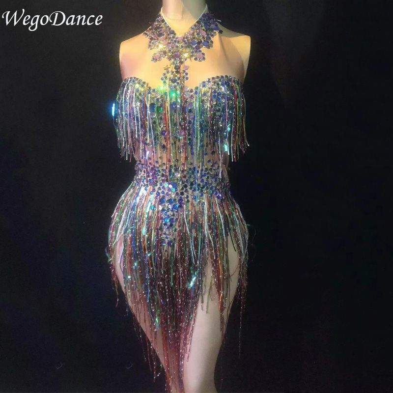 Hot Sale Colorful Fringes Rhinestones Bodysuit Women Stage Dance Costume Nightclub Dance Female Singer Show Bright Leotard
