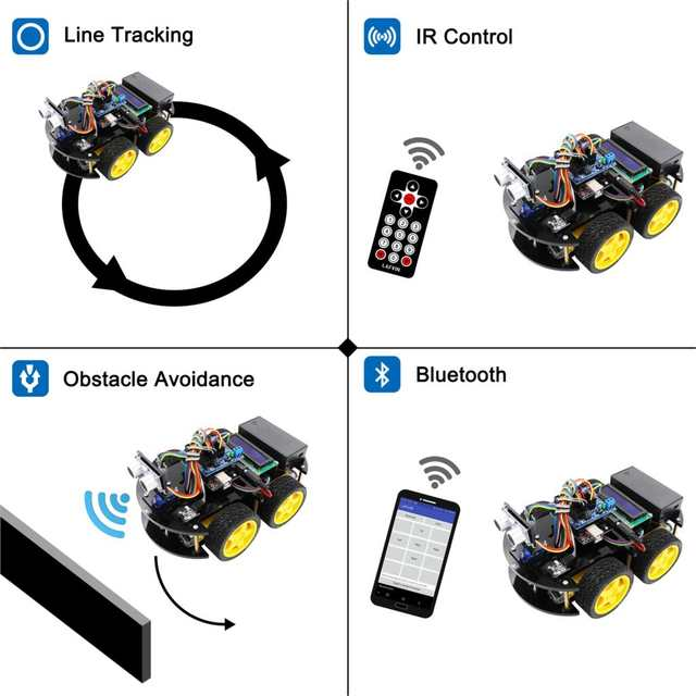 LAFVIN Multi-functional Smart Robot Car Kit with UNO R3, Ultrasonic Sensor,  Bluetooth Module for Arduino with Tutorial