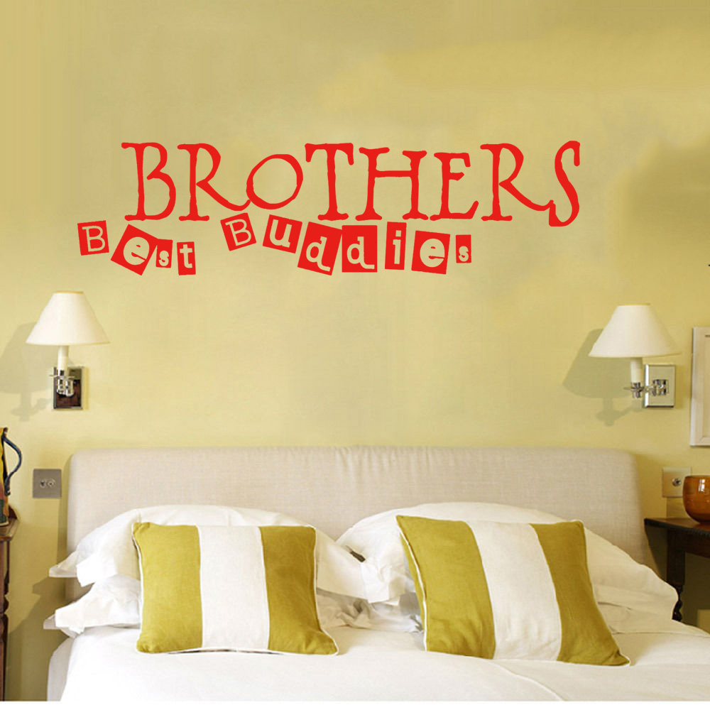 Brothers Best Buddies Wall Art Sticker Quote Childrens Room Boys ...
