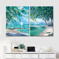 No Frame 2 Panels Drop Shipping Sailings Boat Landscape Canvas Art Wall Picture Decorative For Living