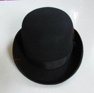Image 2 - 100% Wool Derby Hat Unisex Bowler Hats Wool Felt Fedora Hats Derby Bowler Hats Feather Decorate B 8134