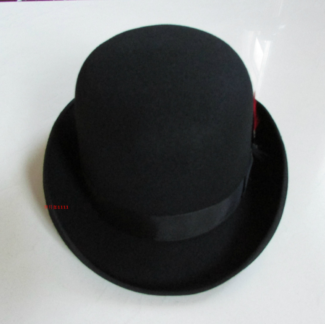 Image 2 - New 100% Wool Hat High Quality Fashion Men's and Women's Black Cap Bowler Hats Black Wool Felt Derby Bowler Hats B 8134-in Men's Fedoras from Apparel Accessories