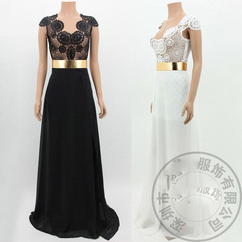 Plus Size 2015 New Backless Halter Sashes Long Lace Black White