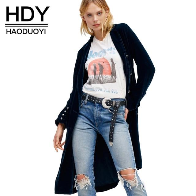 Hdy haoduoyi mujeres ocasionales abrigo de terciopelo suelta cruzado trinchera abrigo mujer elegante azul vintage chic básico outwear