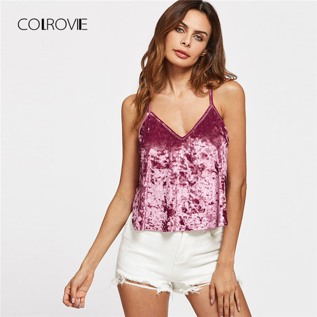 c31932ab24 COLROVIE Crushed Velvet Cami Top 2018 New Arrival Purple V Neck Party Plain  Women Top Summer Spaghetti Strap Crop Camisole