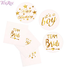 FENGRISE Gold Letters Napkins Paper Serviettes Bride To Team Be Wedding Table For Baby shower Just Married Decor