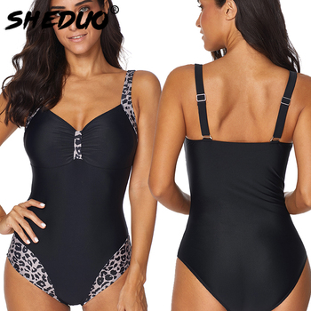 One-piece Plus Size Women Swimwear Leopard Backless Swimsuit Straps Bathing Suit Beach Wear Bodysuits 2019 New 2