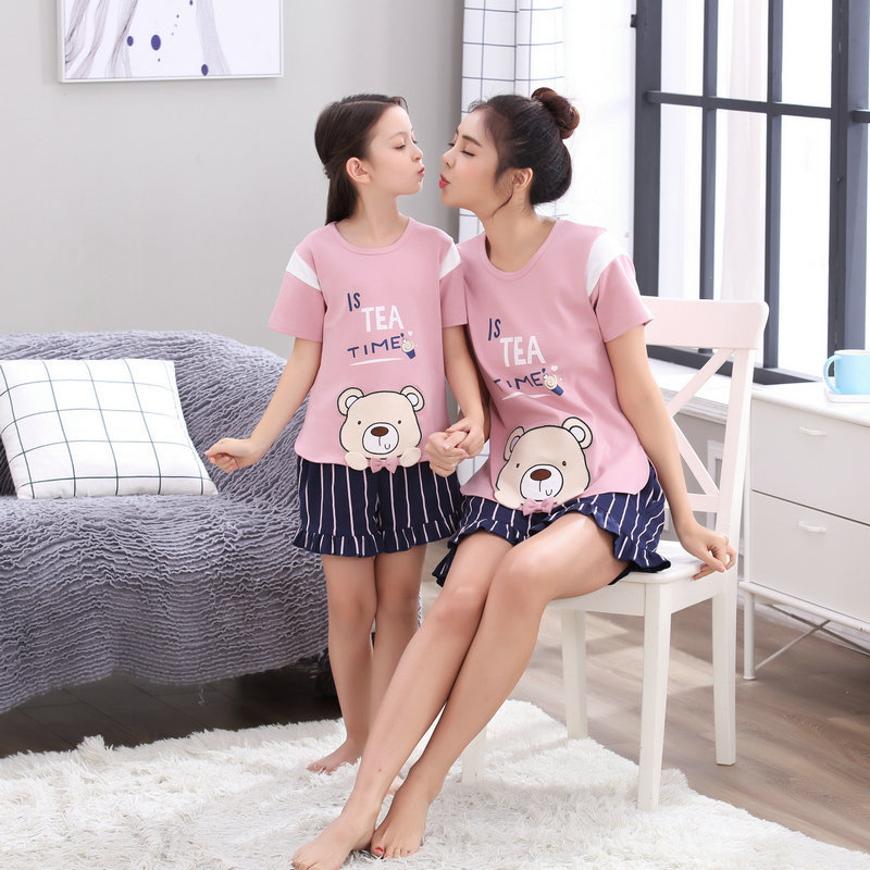 Summer Family Matching Pajamas Sets Mother Daughter Fits Bear Print Short Sleeve Cotton Family Matching Sleepwear Nightwear ...