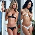2017 venta caliente sexy conjunto de lencería erótica de encaje sujetador expuesta con apoyo de Acero negro blanco Camisetas pantalones sexy ropa interior de las mujeres