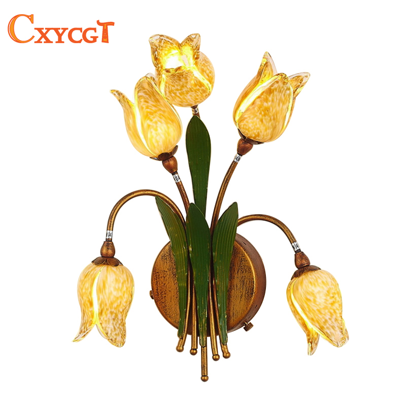 Led Indoor Wall Lamps Round Lily Flower Wall Lamp For Bedside Bedroom Stair Corridor Porch Nordic Home Led Lighting Lights & Lighting