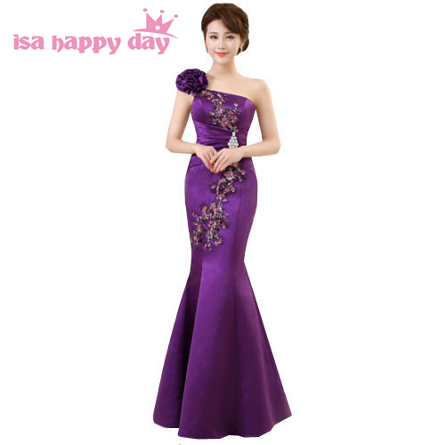 women purple elegant satin long womens 2019 party   dress   gown one shoulder mermaid   bridesmaid     dresses   for wedding occasions H2415