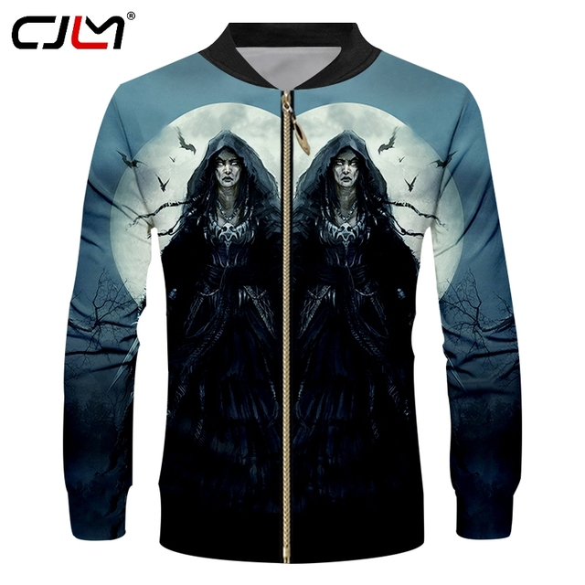 Cjlm Anime Jackets Mens Cool Print Witch 3d Jacket Coats Male